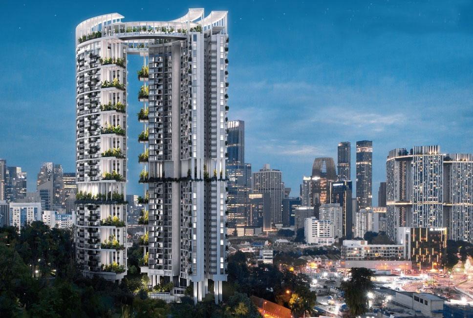 One-Pearl-Bank-Night-Facade-Singapore